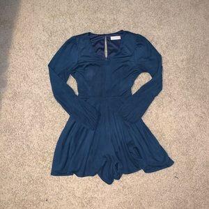 long sleeved blue velvet romper